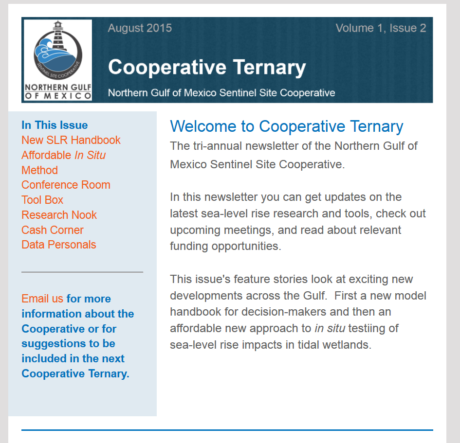 The Cooperative Ternary is a new newsletter that focuses on sea level rise.