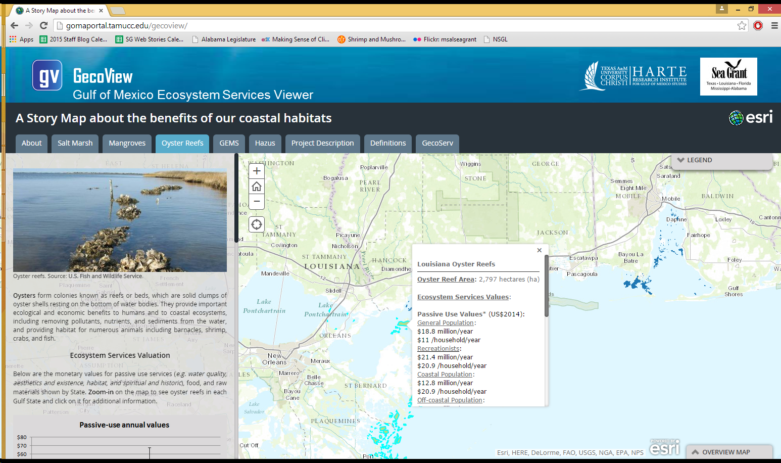 GecoView is an interactive website that provides the values of salt marshes, mangroves and oyster reefs in Gulf of Mexico states.