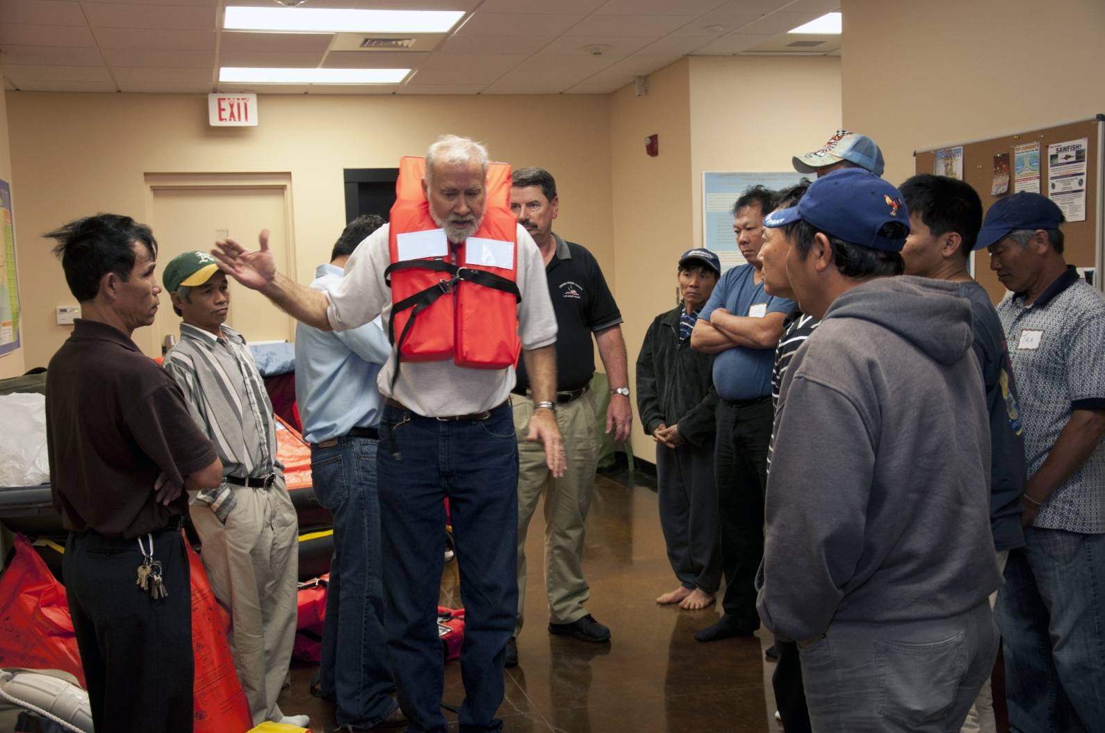 Dave helps train shrimpers to conduct safety drills aboard vessels.