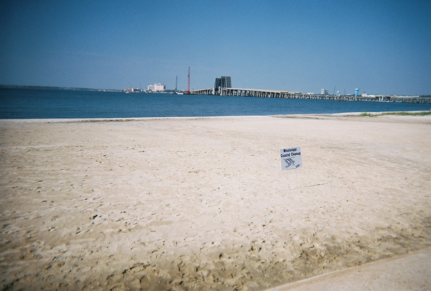 This photo on Front Beach in Ocean Springs shows what remained of the Biloxi-Ocean Springs drawbridge in 2006 during the Mississippi Coastal Cleanup.
