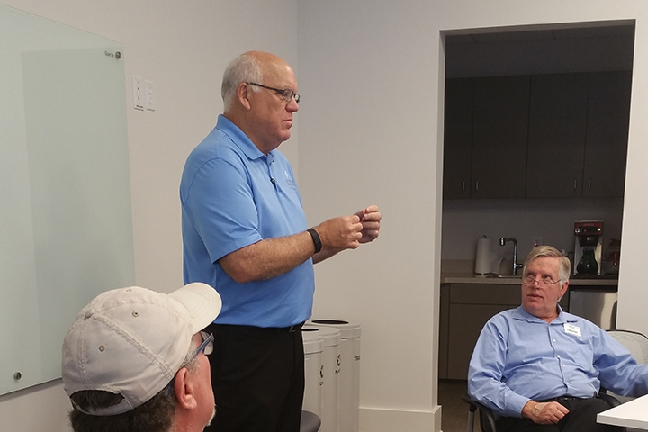 Herb Malone, president/CEO of Gulf Shores & Orange Beach Tourism, speaks to the group about some of the lessons he has learned in more than 20 years of running businesses in coastal Alabama.  (Photo credit: Yolanda Johnson)