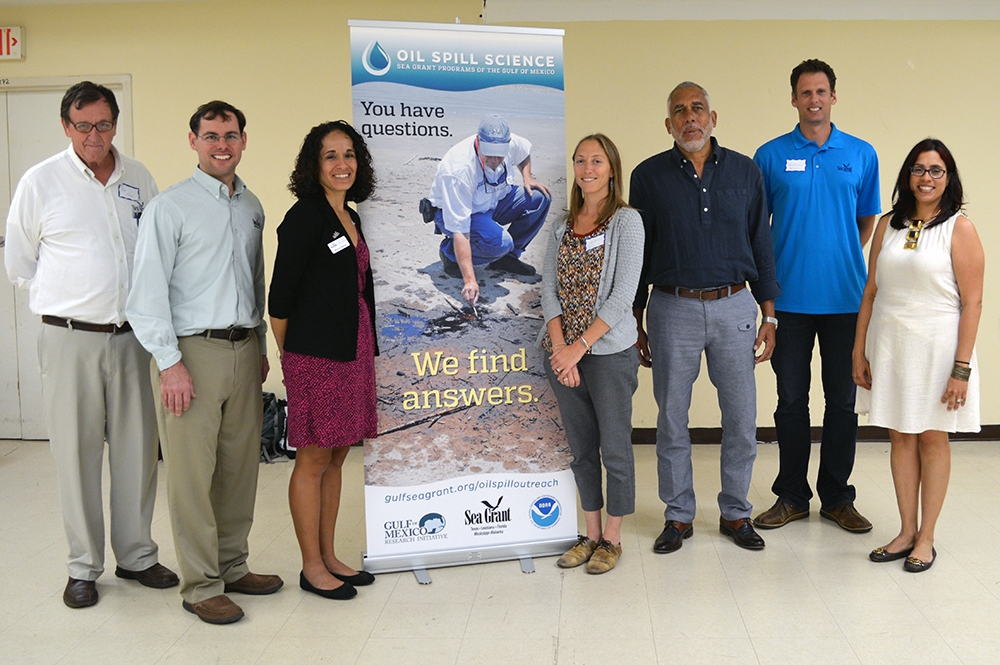 Event organizers assemble in San Juan. Pictured left to right: Kurt Grove, Steve Sempier, Monica Wilson, Chris Hale, Ruperto Chaparro, René F. Esteves Amador and Cristina Olán. (Photo credit: Puerto rico Sea Grant)