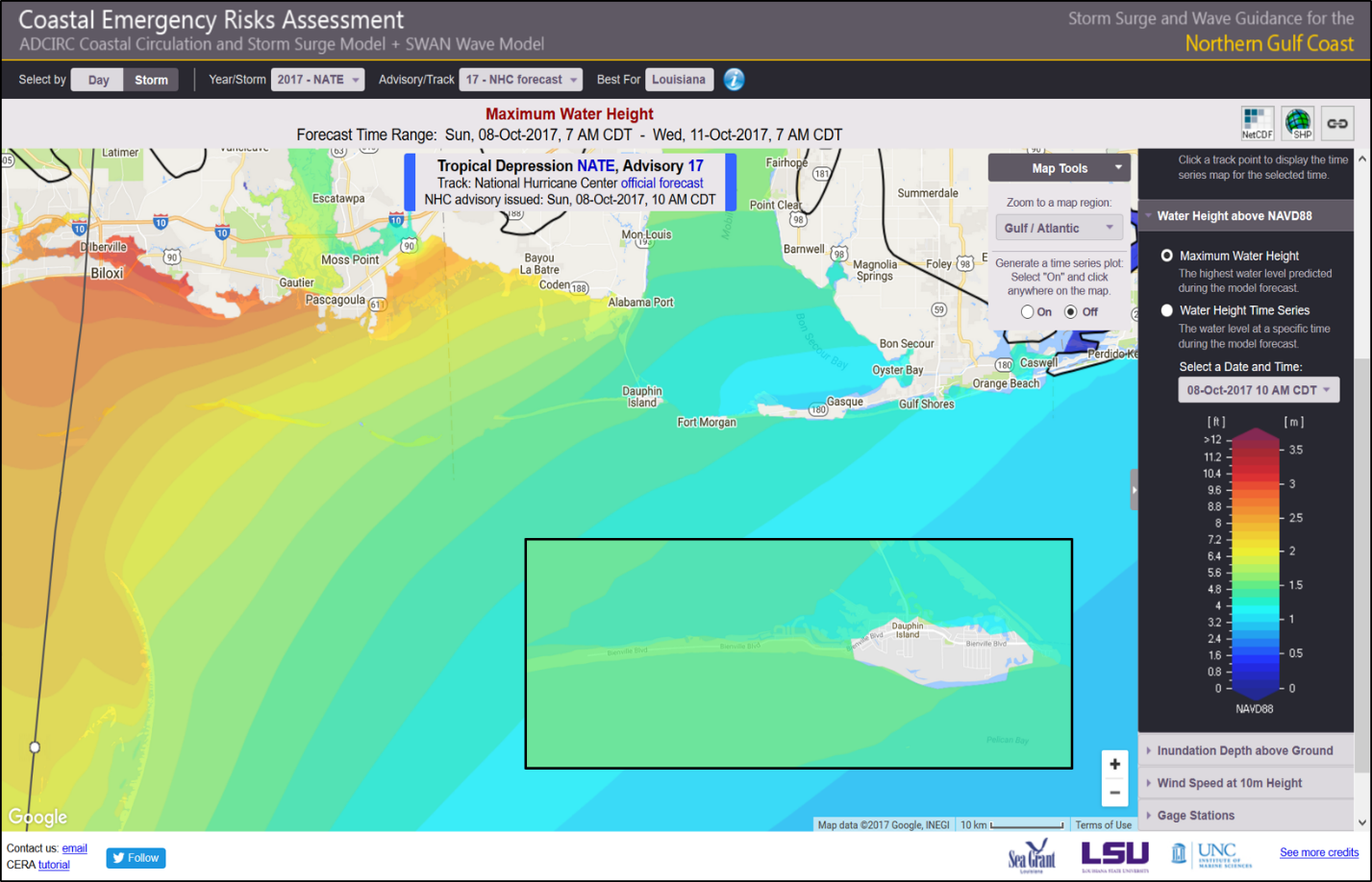 Figure 2. Screen shot of the Coastal Emergency Risks Assessment tool showing predicted surge from Hurricane Nate along the north-central Gulf Coast. Insert: specific predictions for Dauphin Island.*