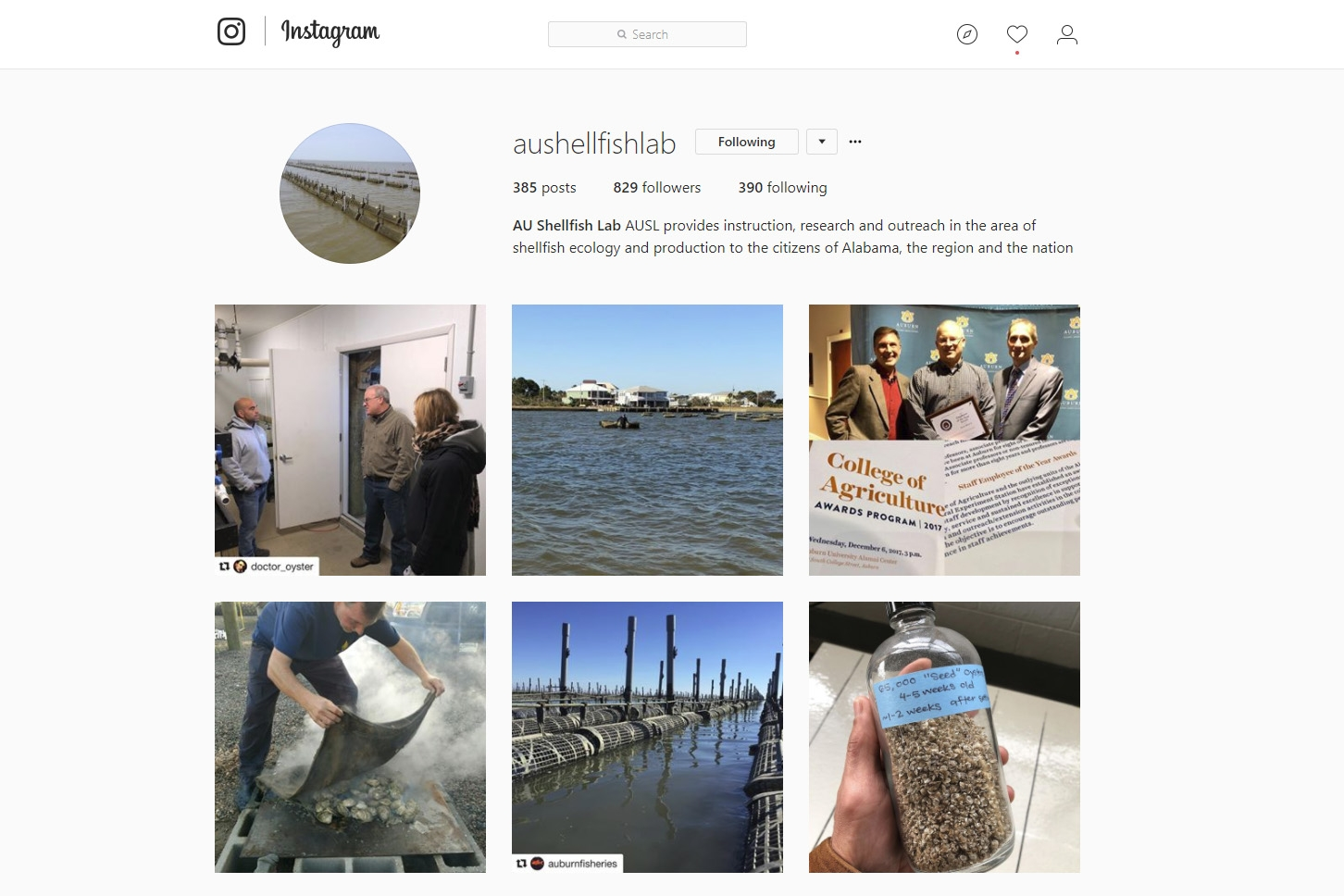 The Auburn University Shellfish Lab is on Facebook, Twitter and Instagram.