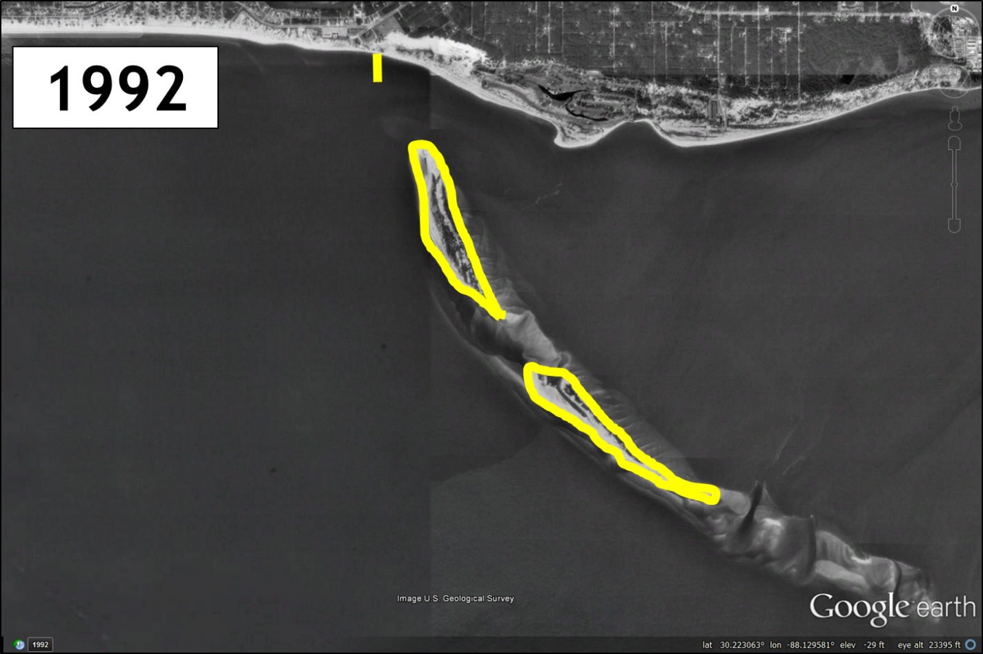 Pelican Island on Dauphin Island, Alabama, in 1992. Yellow outline is the main land masses in 1992 and the northern yellow mark is the location of the Dauphin Island Public Pier. Imagery from Google Earth.