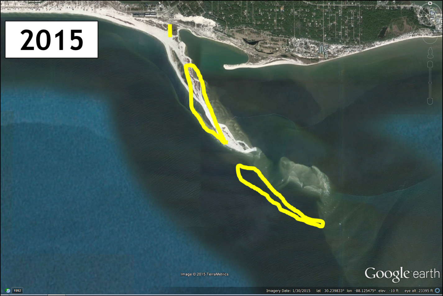 Pelican Island on Dauphin Island, Alabama, in 2015. Yellow outline is the main land masses in 1992 and the northern yellow mark is the location of the Dauphin Island Public Pier. Imagery from Google Earth.