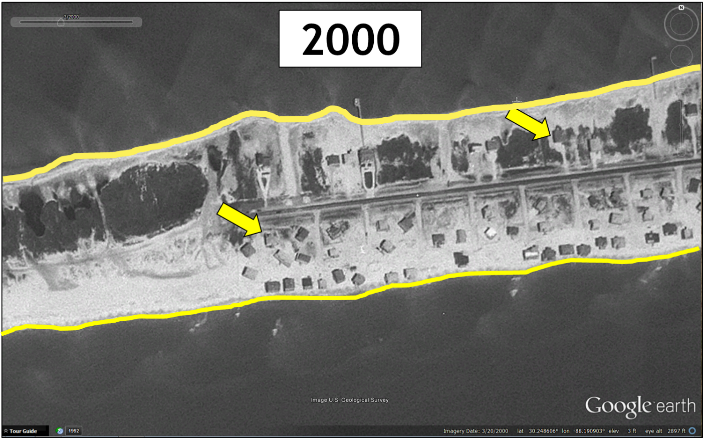 West end of Dauphin Island, Alabama, in 2000. Yellow outline is the outline of the main land mass in 2000. The yellow arrows are pointing to houses that can be used as benchmarks for the next figure. Imagery from Google Earth.
