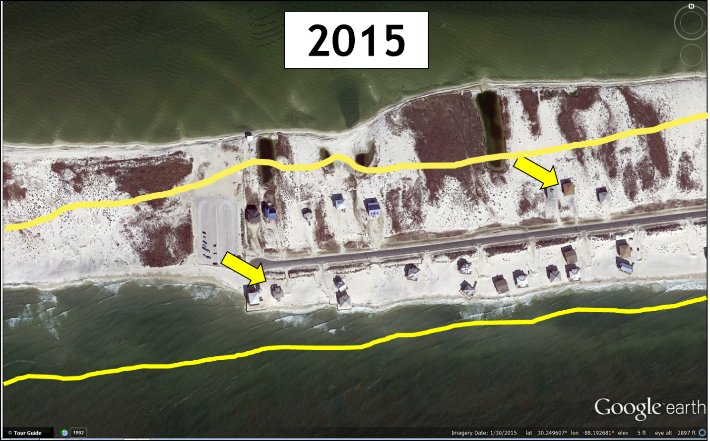 West end of Dauphin Island, Alabama, in 2015. Yellow outline is the outline of the main land mass in 2000. The yellow arrows are pointing to houses that can be used as benchmarks from the previous figure. Imagery from Google Earth.