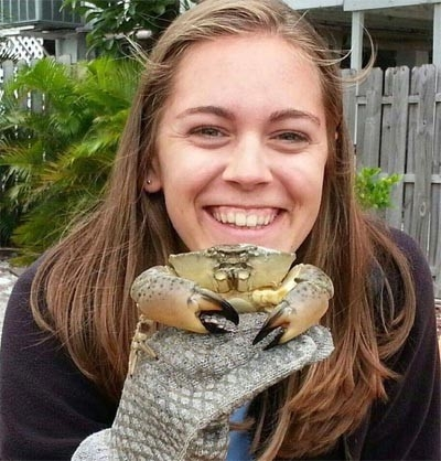 Figure 1. Extension associate Amanda Jefferson holds a live Florida stone crab.