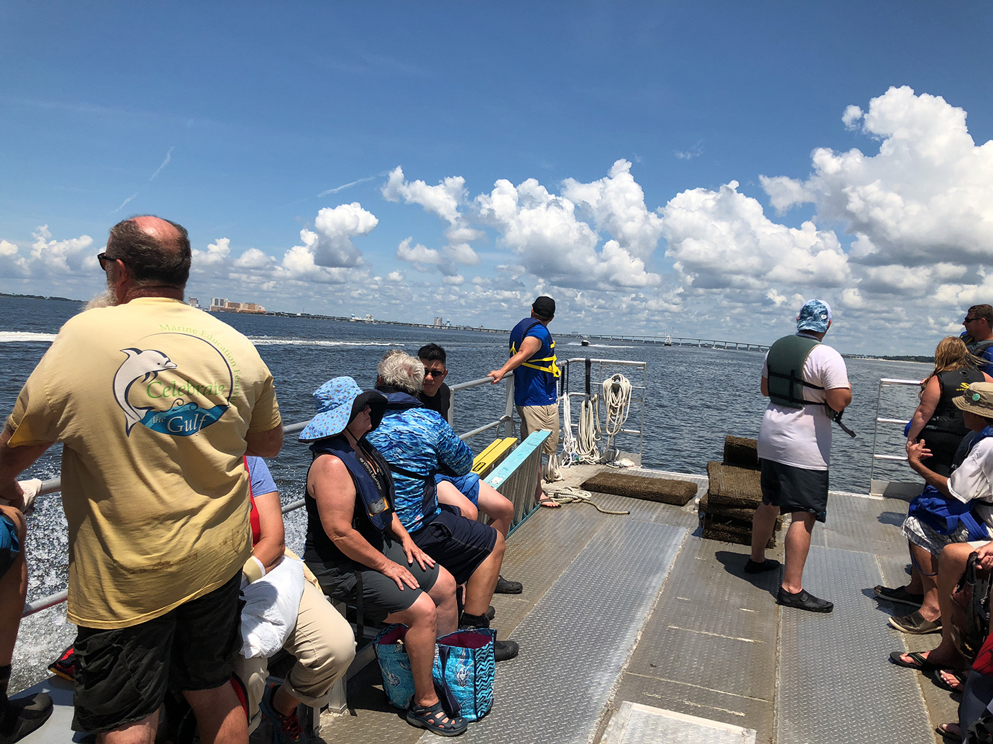 Students in the Oyster Fundamentals class in Mississippi return to Ocean Springs Harbor after training near Deer Island. (Photo by Rusty Grice)