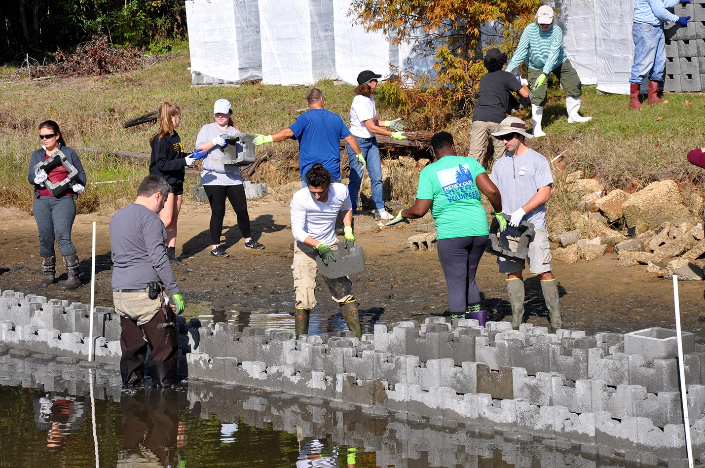 Volunteers work on a living shorelines project at Camp Wilkes in Biloxi, Mississippi.