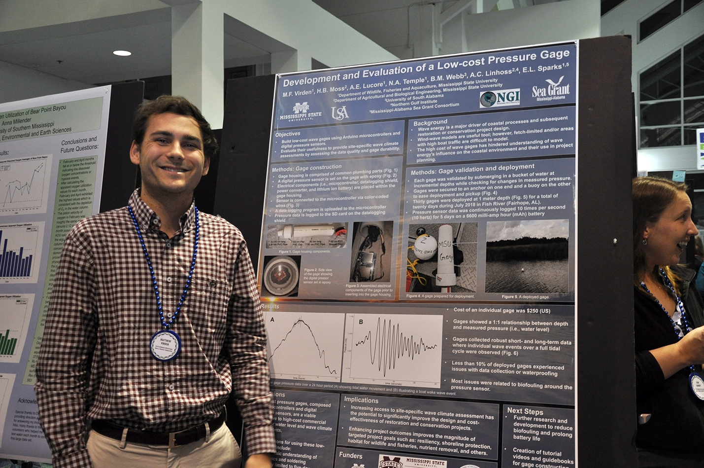 Student Matthew Virden of Mississippi State University presents his poster on a Sea Grant-supported effort to develop a low-cost pressure gage.