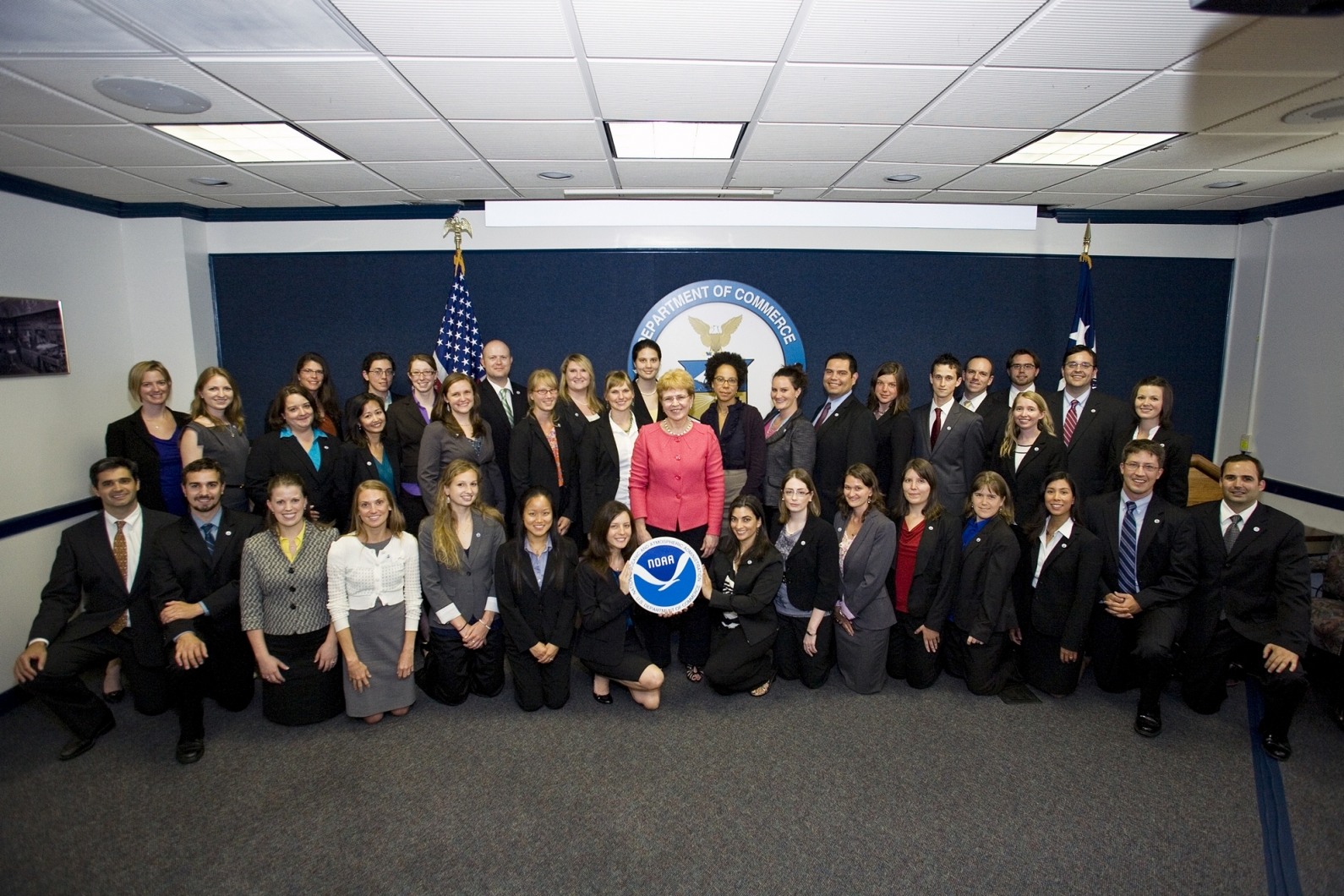 A former class of Knauss fellows pose for a photo during their one-year fellowship in Washington, D.C.