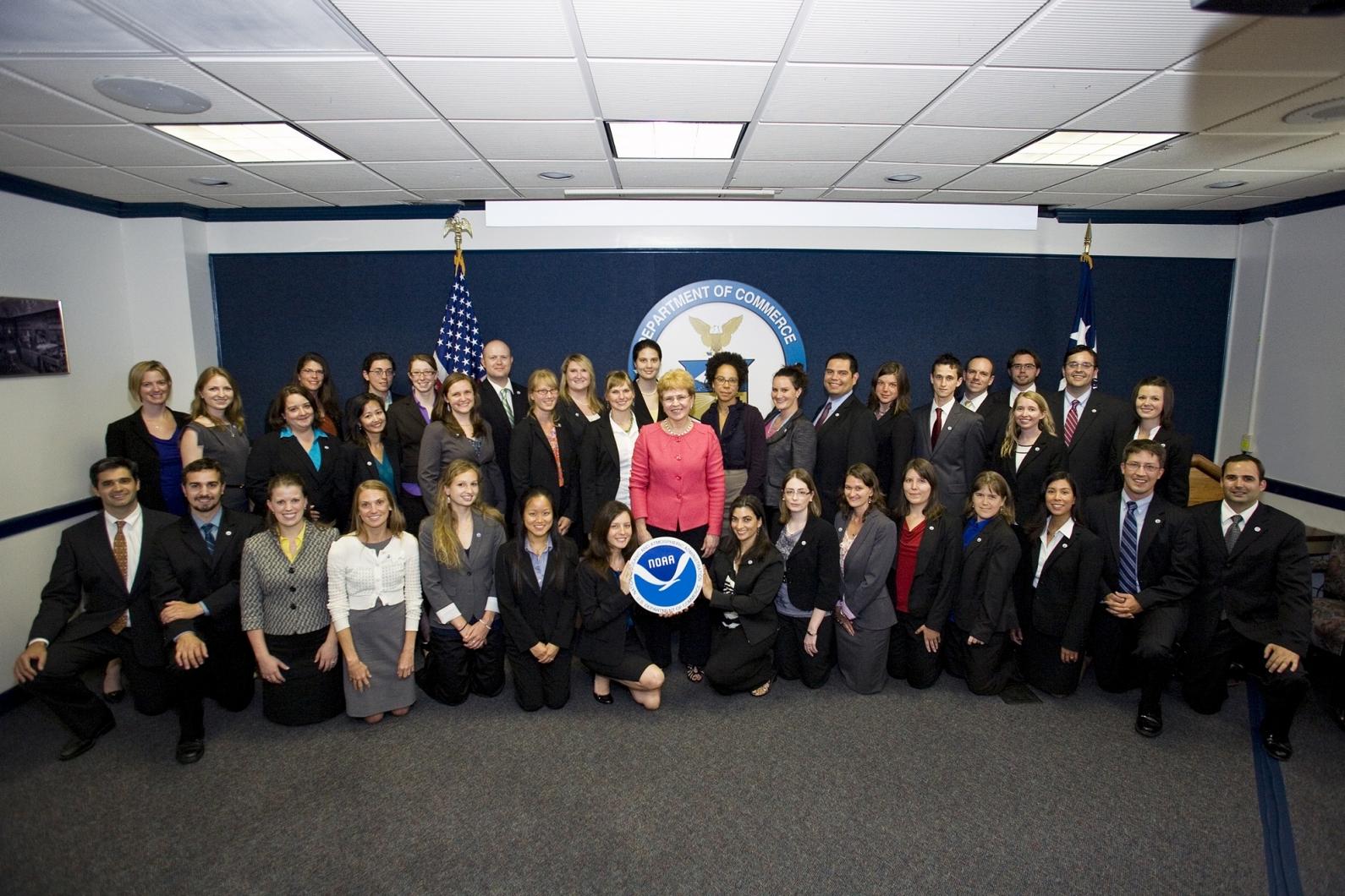 A former class of Knauss fellows pose for a photo during their one-year fellowship in Washington, D.C.