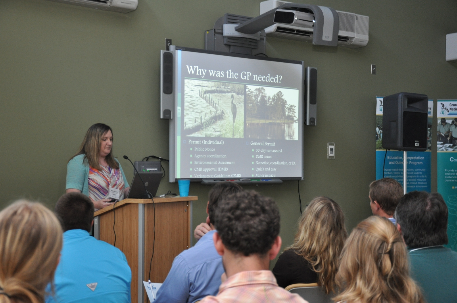 Willa Brantley, director of the Mississippi Department of Marine Resources Wetland Permitting Bureau, talks about permitting at a previous living shorelines workshop.