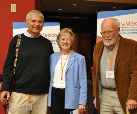 Gulf of Mexico Research Initiative Research Board Member Jörg Imberger, left, GoMRI Research Board Chair Rita Colwell and Jack Colwell.