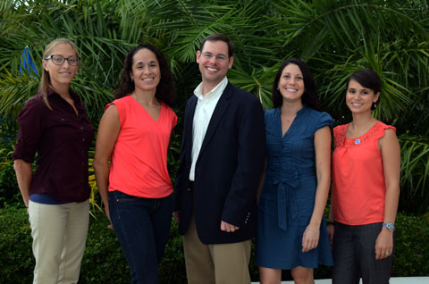 Chris Hale, left, Monica Wilson, Steve Sempier, Larissa Graham and Emily Maung-Douglass make up the oil spill science outreach team.